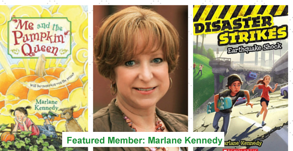 """Marlane Kennedy – Award-Winning Author Marlane Kennedy's first book,Me and the Pumpkin Queen, was published by HarperCollins and came along in 2007 after 14 years of persistent trying and seven shelved middle grade manuscripts. SCBWI was a large part of her learning curve and she fondly remembers her first writing workshop that took place at Laurie Lazzaro Knowlton's Roots N Wings Ranch about 20 years ago! She was very nervous and awestruck at being around published authors, but came away inspired and determined, despite the ever increasing number of rejections she was collecting. It was a good thing she didn't give up asMe and the Pumpkin Queenwent on to become a Junior Library Guild Selection, a BookPage Notable Book, Book Sense Pick, and a nominee for five state book awards. Her second book,The Dog Days of Charlotte Hayes, also published by HarperCollins, made the Bank Street Best Books list, the International Reading Association Children's Choice list, and was a nominee for several state book awards.  Debuting summer of 2014, her new series with Scholastic,Disaster Strikes, is about kids caught in natural disasters that test their strength, smarts, and courage. Booklist praisedEarthquake Shock,the first release of the series: """"Full of action and realistic friend dynamics…holds strong appeal for both girls and boys and features a diverse cast of characters. A rare find in transitional chapter books."""" Marlane has lived through one tiny earthquake, the blizzard of 1978, and a tornado that swept through Wooster, Ohio, where she lives with her husband and daughter. Though she is having a blast writing about disasters, she is hoping not to add any more to the list! You can learn more about Marlane by visitingwww.marlanekennedy.com."""
